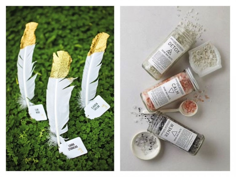 Feather and bathsalt favours