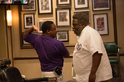 Clowing on film set of Barbershop The Next Cut with Cedric the Entertainer