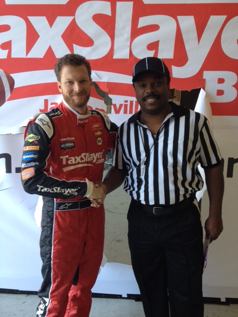 Dale Earnhardt Jr on set of ESPN TV commercial shoot - 2015 Taxslayer