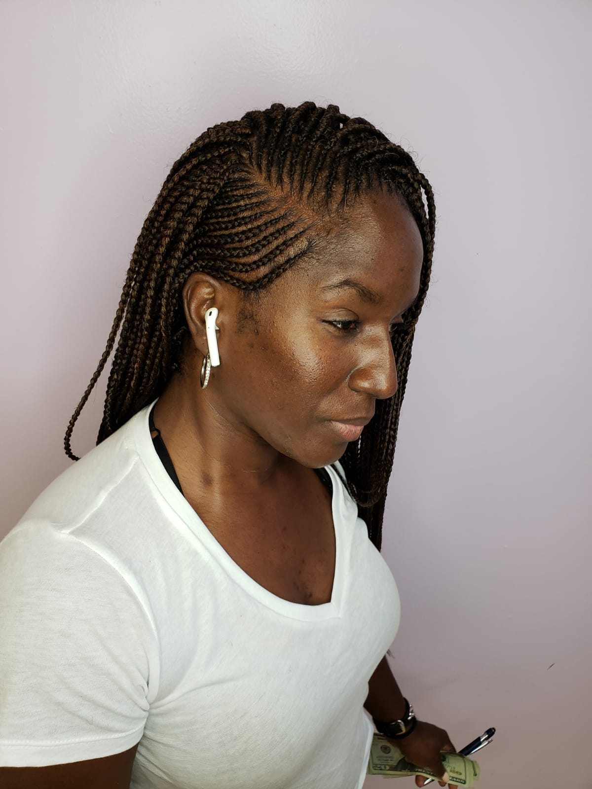 Styled cornrow and Box Braids