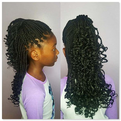 Kids Box Braids with Curly Ends