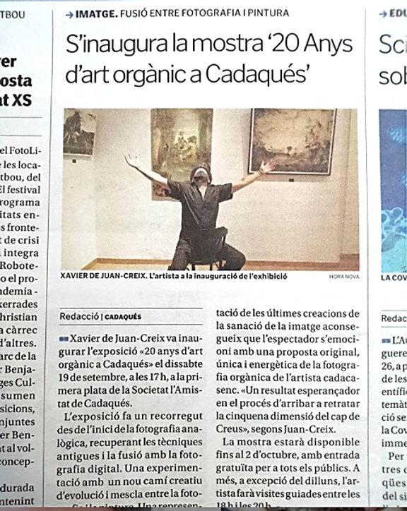 Prensa Horanova 20anys art Organic Cadaq