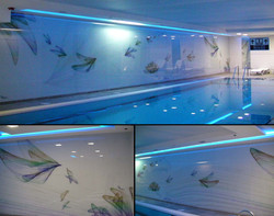 Printing on glass wall for a pool