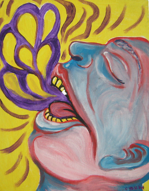Exhaling, 2010, Acrylic on canvas board, 10in x 6in