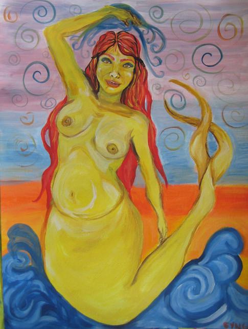 Siren Yellow, 2012, Acrylic on paper, 24in x 16in