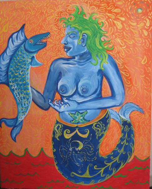 Blue Siren, 2017, Acrylic on canvas, 36in x24in