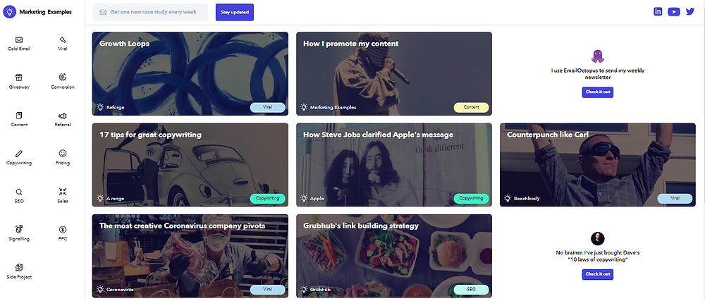 Marketing examples platform for content inspiration