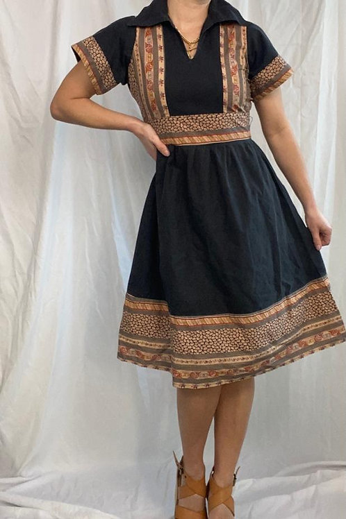 70's black cotton and print midi dress