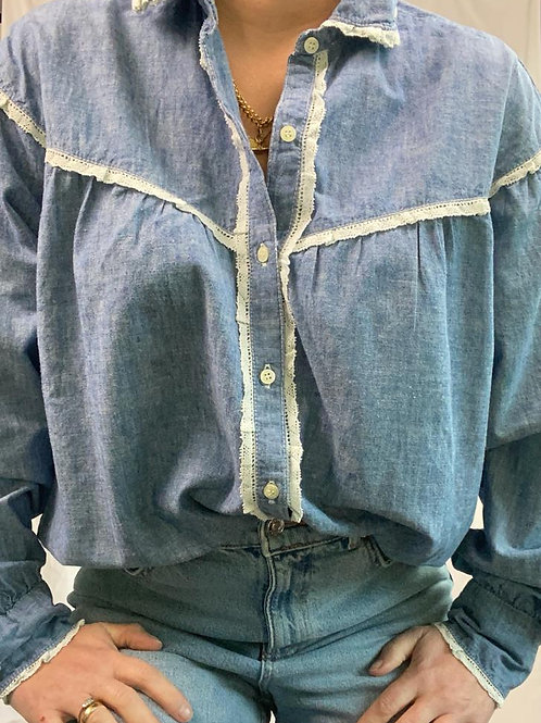 Blue chambray with crochet detail shirt