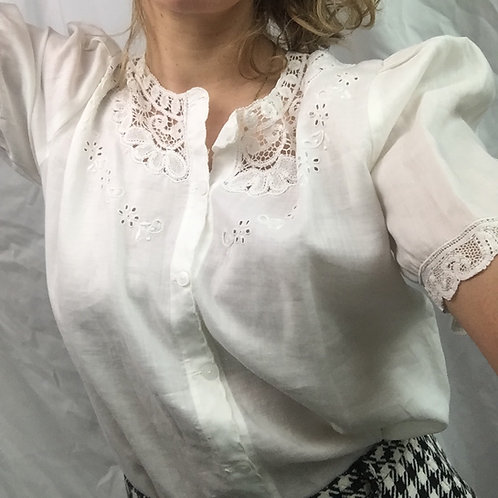 Linen mix and lace white shirt