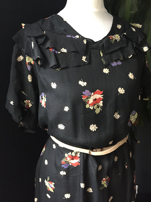 Devine floral silk 1930's dress