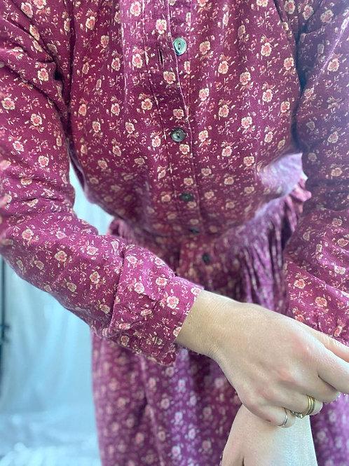 Maroon Laura Ashley Brushed cotton dress