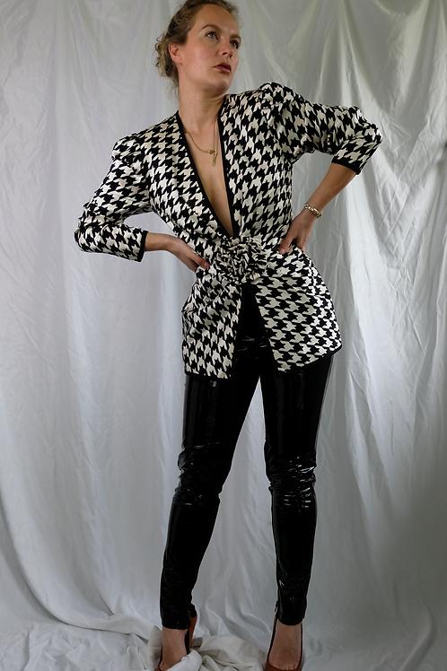 A.J Bari Silk houndstooth jacket