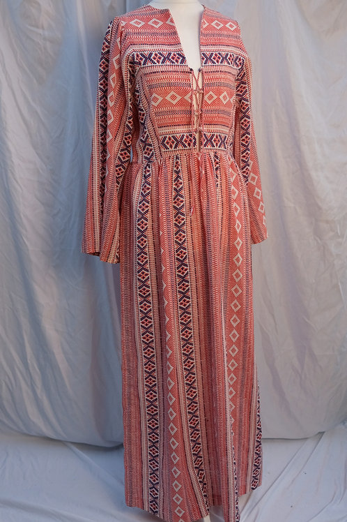 70s hippie lace front  dress with bell sleeves
