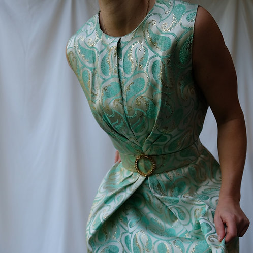 Rabell Gold Lame & Sea green Oyster Satin dress