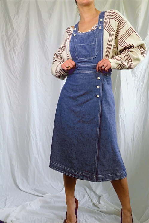 "70's ""Young"" Jaeger Jumper/Wrap pinafore dress"