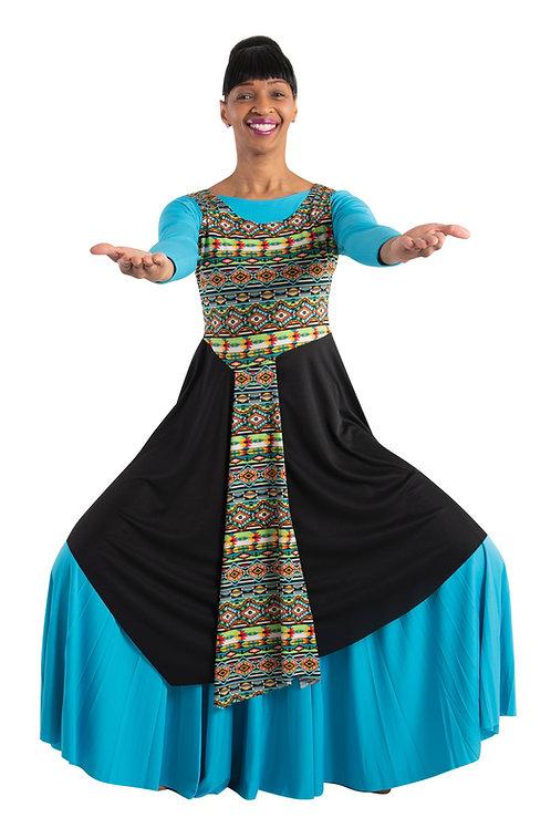 665  Tribal Print Asymmetrical Tunic Pullover
