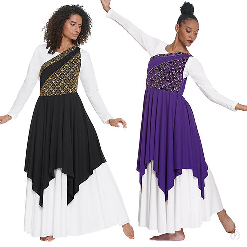 85567 Adult Divine Royalty Asymmetrical Praise Tunic