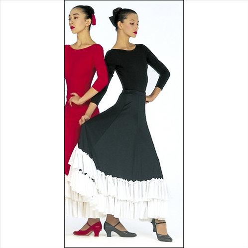 Two-Toned Double Ruffle Flamenco Skirt