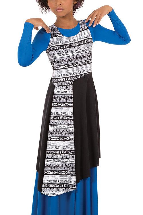 0665 Child Tribal Print Asymmetrical Pullover