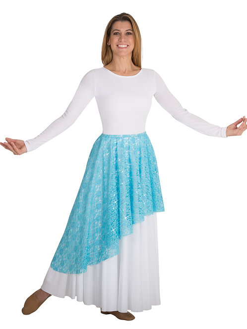627 Glitter Lace Asymmetrical Skirt