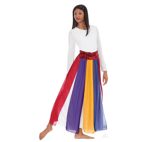 39808 Multi Colored Chiffon Streamer Skirt