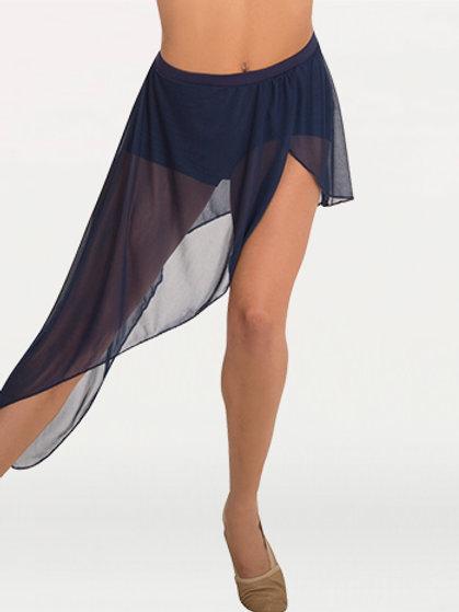 BW9106 Side-Dip Asymmetrical Petal Front Slit Chiffon Skirt