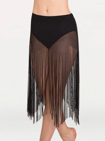 BW9811 Power Mesh Fringe Skirt