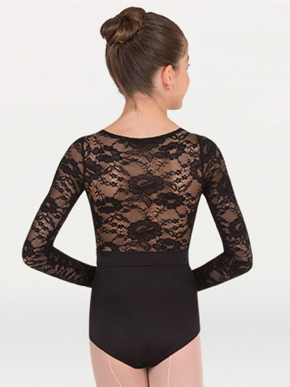 P1081 Long Sleeve Lace Back Leotard