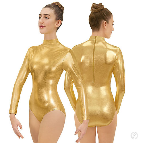 19131 Womens Metallic Mock Neck Leotard.