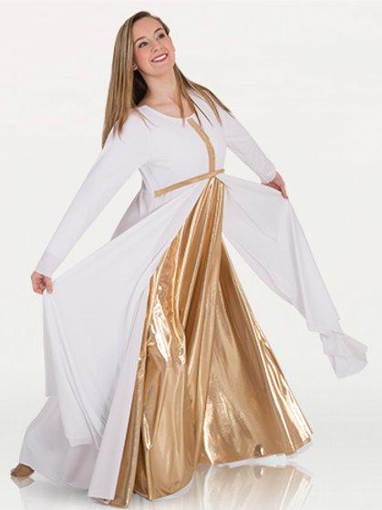 646 Long Sleeve Dress W/ Metallic Front Cross