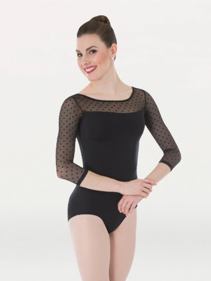 P1042 Dotted 3/4 Sleeve Leotard