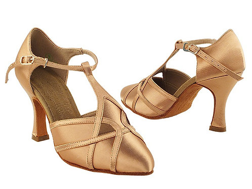 S3801 Tan Satin Ballroom Shoe