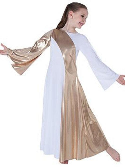 0592 Child Asymmetrical Bell Sleeve Dress