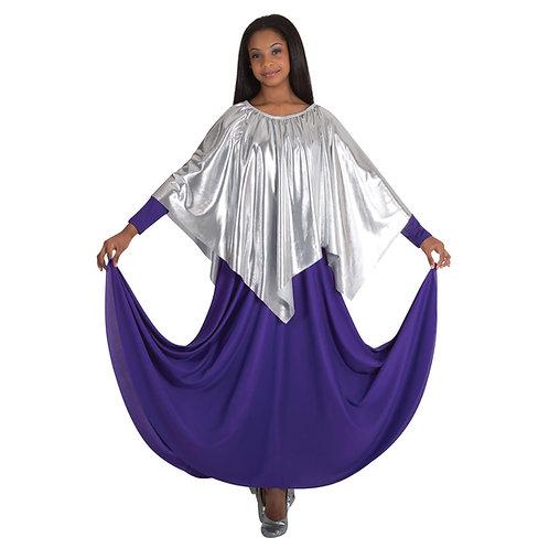 601 Adult Metallic Handkerchief Hem Skirt/Shoulder Drape
