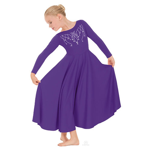 11024C Child Raining Cross Rhinestone Dress
