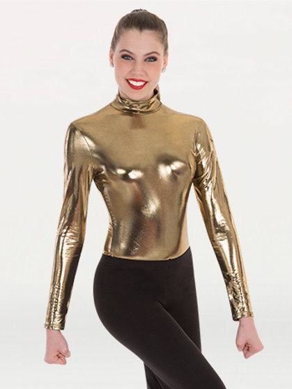 8304 Metallic Mock Neck Leotard