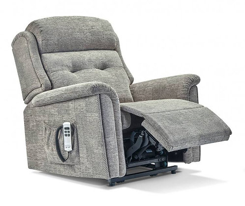 Sherborne Roma grey material rise and recline chair in raised position