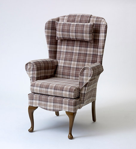 Shackletons, the Stroud. High backed fireside chair. Bespoke, fire quality