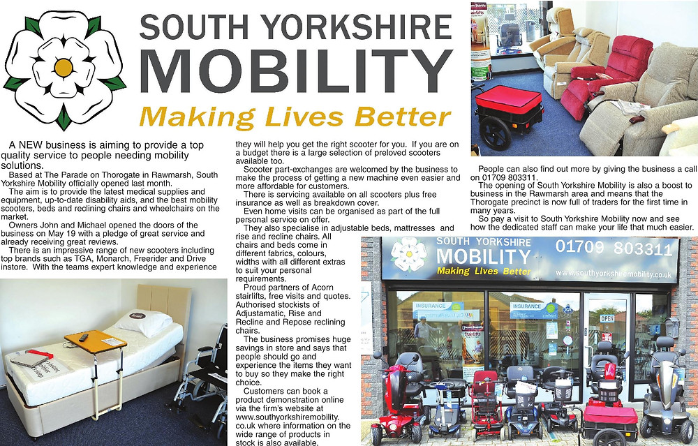 South Yorkshire Mobility featured in local paper