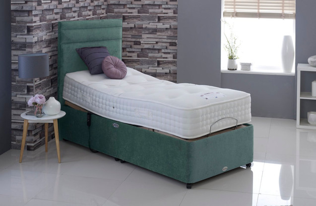 wool deluxe 1500 single green adjustable bed