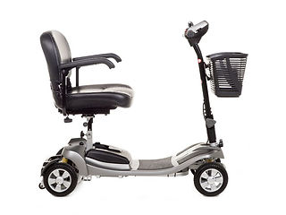 Alumina silver light weight mobility scooter with basket side view.jpg