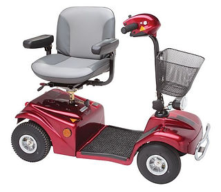 Rascal 388 mobility scooter in red side