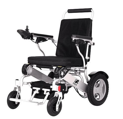 Kiwik Super Heavy Duty Electric Wheelchair silver side view