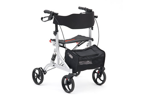 Drive suspension Rollator in silver side view