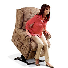 woman sitting in rise and recline chair