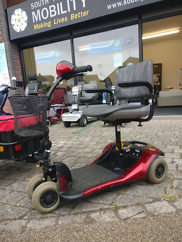 Shoprider 4 mph red mobility scooter with basket