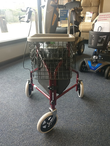Three wheel rollator with tray and basket tri walker
