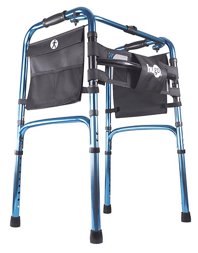 Hugo ultra light weight walker in blue side view with black pockets