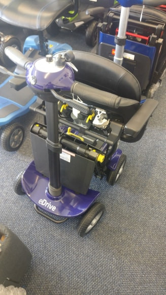 Motion Edrive in folded position in South Yorkshire Mobility showroom